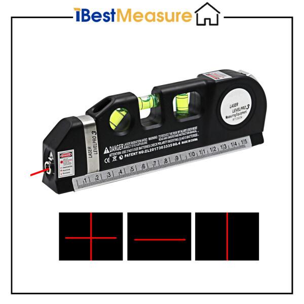 iBestMeasure Dòng đo mức laser đa năng 8ft + Thước cuộn được điều chỉnh Thước đo tiêu chuẩn và thước đo Màu đen