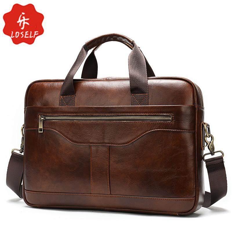 MARRANT Mens Genuine Cow Leather Briefcase Retro Style 14 Inch Laptop Bag Men Messenger Bag Fashion Crossbody Handbag for Men