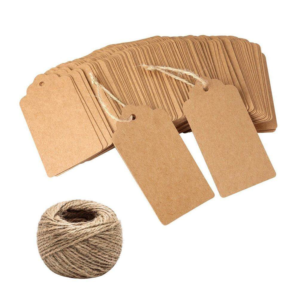 1ebeaa75afb4 100Pcs Blank Gift Kraft Paper Hang Wedding Hemp Rope DIY Store Tag Price  Label
