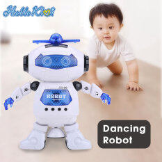 HelloKimi Rô bốt đồ chơi HelloKimi điều khiển từ xa sử dụng điện có thể nhảy múa xoay được 360° với đèn phát sáng dành cho trẻ em phù hợp làm quà tặng