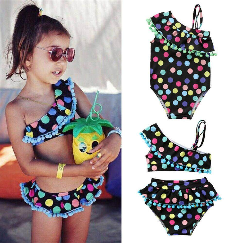 Toddler Baby Girls Kid Tassel Swimsuit Bathing Tankini Bikini Swimwear Beachwear By Lg566.