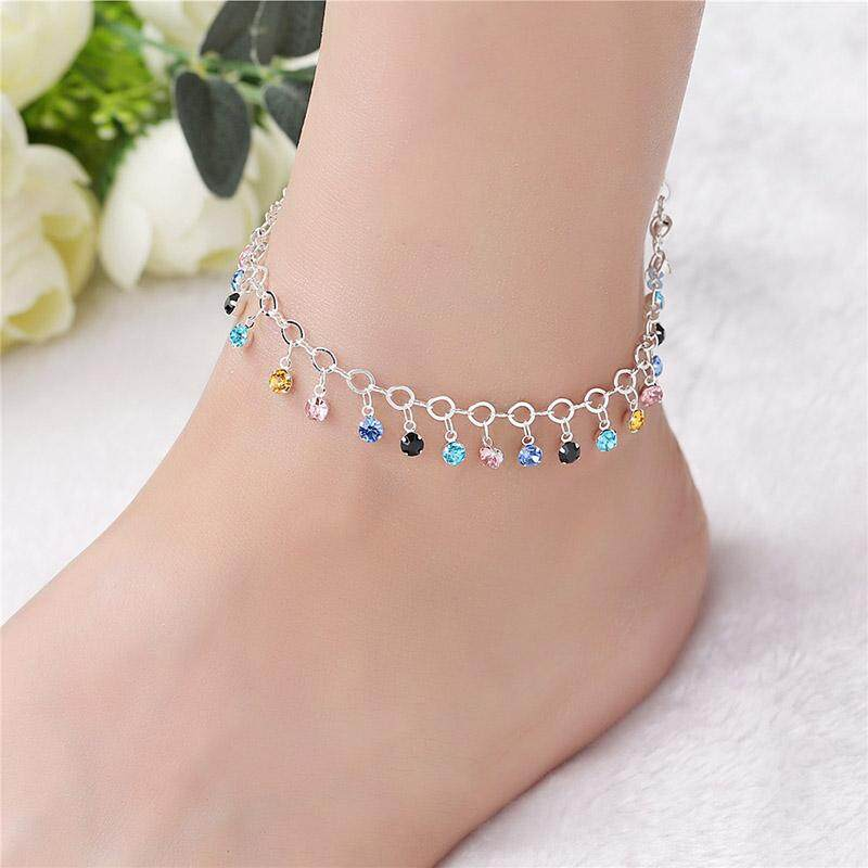 Boho Tassel Anklets For Women Silver Color Beads Pendant Barefoot Sandals Anklet Foot Leg Bracelet By Rytain.
