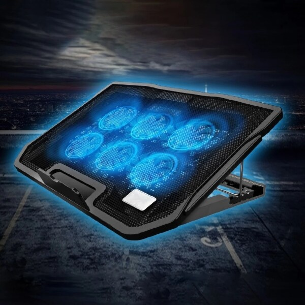 Laptop Cooler Gaming Notebook Cooling Pad Adjustable Speed 2 USB Ports and 6 Silent LED Fans Powerful Air Flow Portable Adjustable Laptop Stand Malaysia