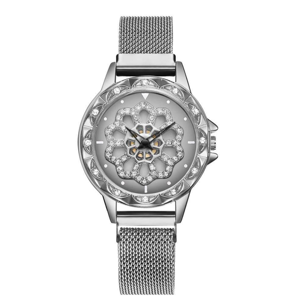 Good Breeze Fashion Women Quartz Watch Starry Flower Diamond Watches Stainless Steel Magnetic Bracelet Creative Casual Lady Wristwatches Malaysia