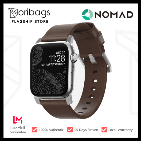 NOMAD Modern Leather Strap For All Apple Watch Series ( 44mm / 42 Mm) - Brown Strap + Silver Hardware Malaysia