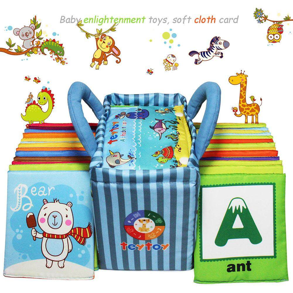 SLBBH Baby Toy Zoo Series 26pcs Soft Alphabet Cards with Cloth Bag for Over 0 Years FR6JIK