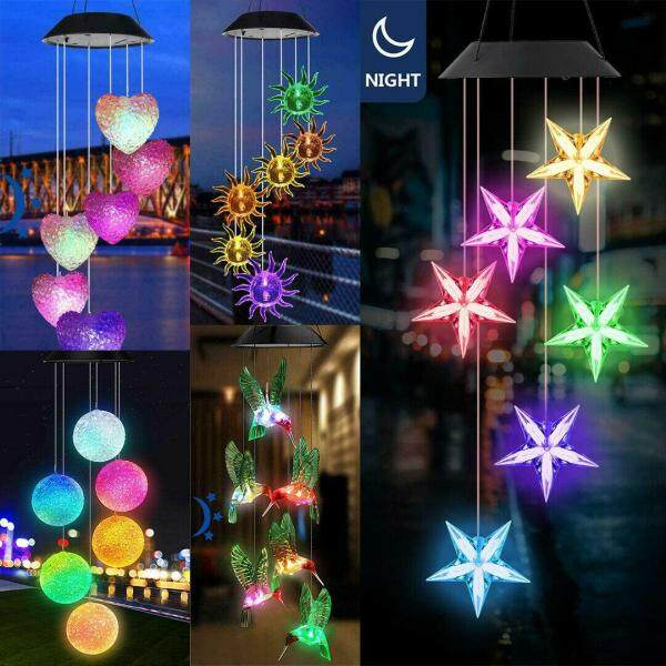 Solar Powered Wind Chime RGB LED Light Sensor Control Color Changing Hanging Spinner Windchime Lamp Yard Outdoor Garden Path Landscape Decor Party Christmas
