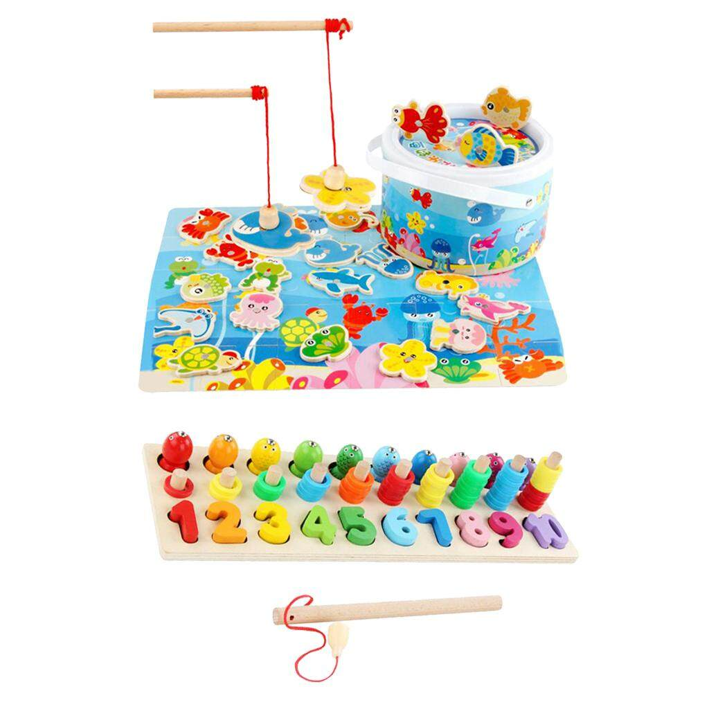 BolehDeals Wooden Magnetic Fishing Pole Game,Three-dimensional Matching Board for kids