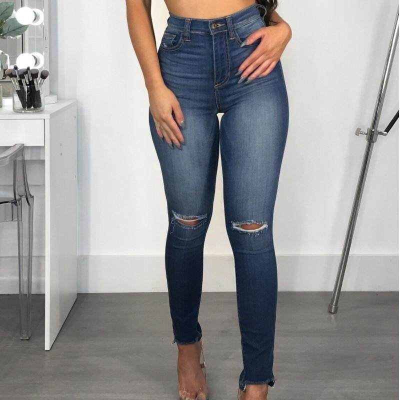 cf1be8c513 Casual Knee Ripped Jeans High Waisted Push Up Jeans Woman Hole Ripped Skinny  Jeans Plus Size