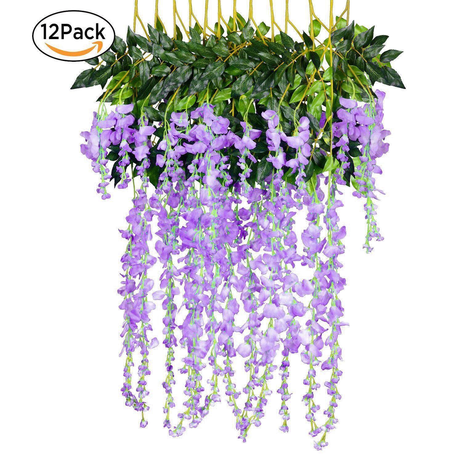 12Pack/Set Wedding Decor Artificial Silk Wisteria Flower Vines hanging Rattan Bride flowers Garland For Home Garden Hotel