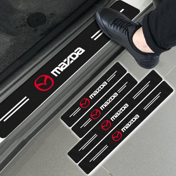 4 Miếng Dán Bảo Vệ Ngưỡng Cửa Ô Tô Bằng Sợi Cacbon, Cho Mazdas 2 3 4 5 6 7 8 323 626 CX5 CX7 CX9 RX8 MX3 MX5 Atenza Axela