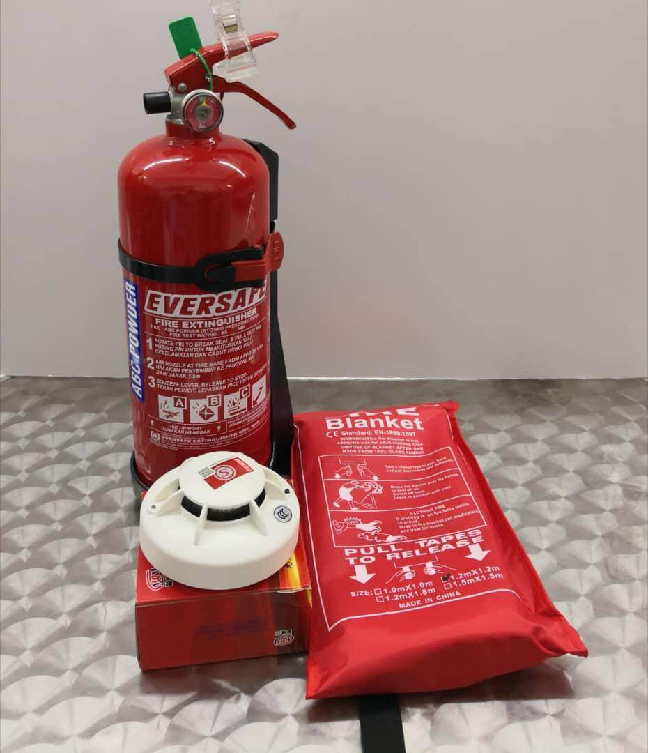 Fire Extinguisher, Fire Blanket, Smoke Detector