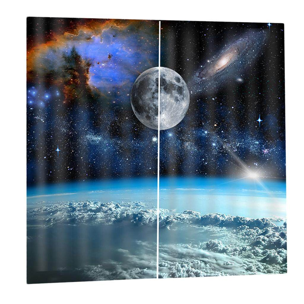 Dolity 2 Pcs/Panels Waterproof Outer Space Curtain Drapes for Bedroom Living Room
