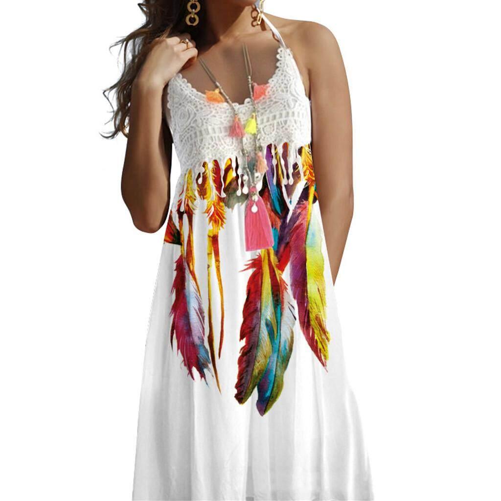 48be2197b3 Women Vintage Boho Summer Lace Sleeveless Beach Printed Dress