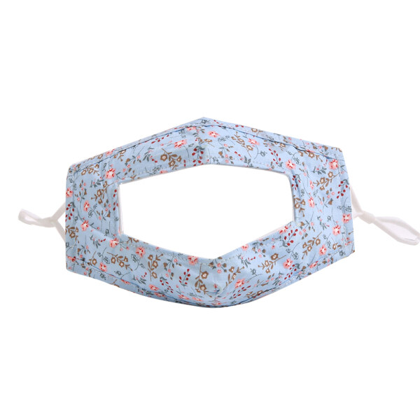 Reusable Deaf Face Cover Washable Fashion Cotton Face Cover with Clear Window and Adjustable Ear Loops for Women and Men