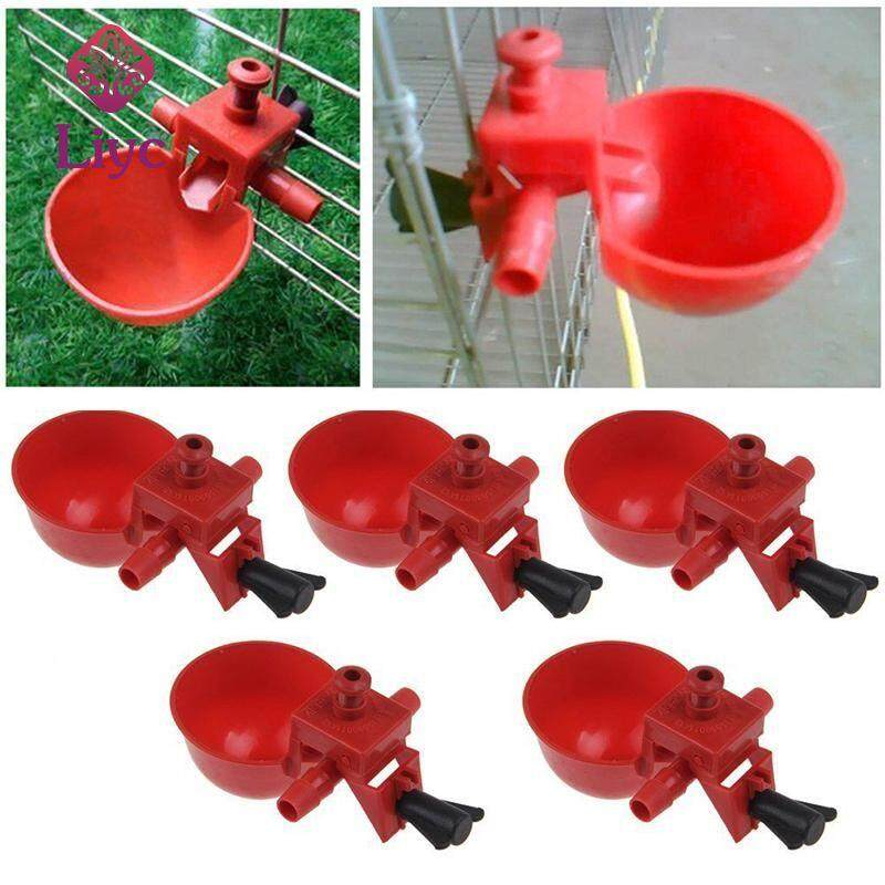 Liyc 5Pcs Feed Automatic Bird Coop Poultry Chicken Fowl Drinker Water Drinking Cups Poultry Auto Automatic Quail Water Drinker Drinking Cup Bird Coop Chick Feed Cup