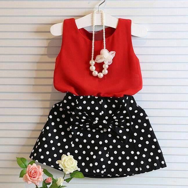 Girls Vest Pleated Dress Two Pieces Set Clothes Children Skirt Suit By Murphystore.