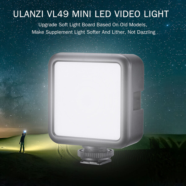 Giá ulanzi VL49 Mini LED Video Light Photography Lamp 6W Dimmable 5500K CRI95+ Built-in Rechargeable Lithium Battery with Cold Shoe Mount for Canon Nikon Sony DSLR Camera