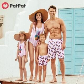 PatPat Đồ Bơi Kẻ Sọc Một Mảnh In Hình Dứa Phù Hợp Với Gia Đình Đồ Bơi Đồ Bơi -Z thumbnail