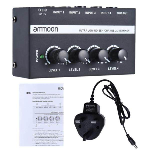 ammoon MX400 Ultra-compact Low Noise 4 Channels Line Mono Audio Mixer UK plug Malaysia
