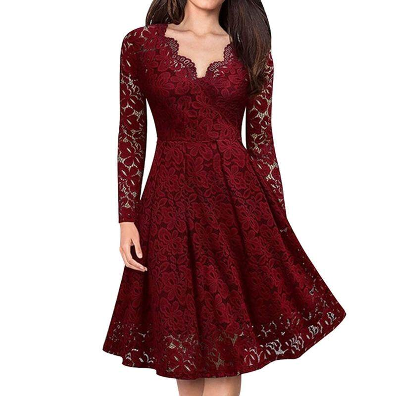 9f3ab424258 Ladies Elegant V Neck Lace Long Sleeve Bridesmaid Guest Dresses Slim Waist  Midi Dress