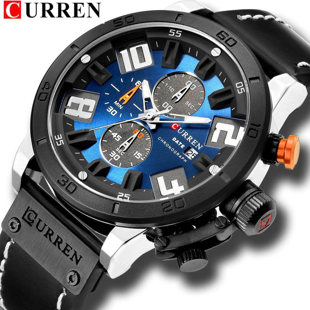 Luxury Mens Watches Fashion Chronograph Quartz Digital Leather Strap Watch With Waterproof 8312 Malaysia