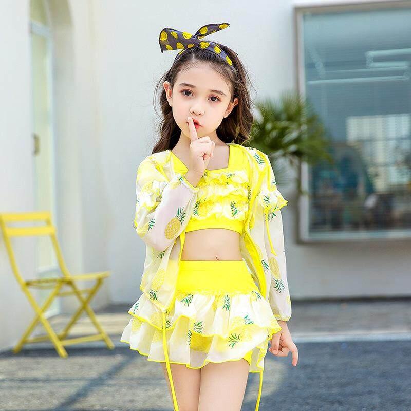 Giá bán Bé gái Chia 3-động Bơi Phong Cách Hàn Quốc Công Chúa Váy Đồ Bơi Dễ Thương cho Bé Gái Chống Nắng Đồ Bơi
