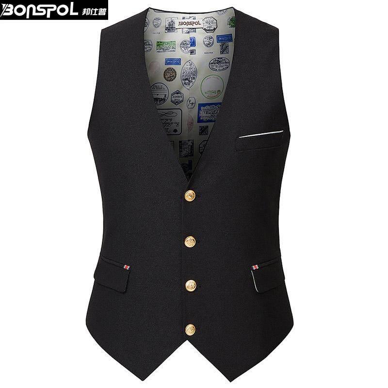 Kualitas Tinggi Rompi Pria Korea Musim Panas Kasual Rompi Pas Ramping Mantel Warna Solid Jaket Jas untuk Pria Bisnis