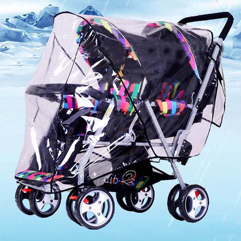 Clear Baby Stroller Rain Cover for Twins 1PC PVC Universal Waterproof Transparent Rainproof Cover Sun Shade New