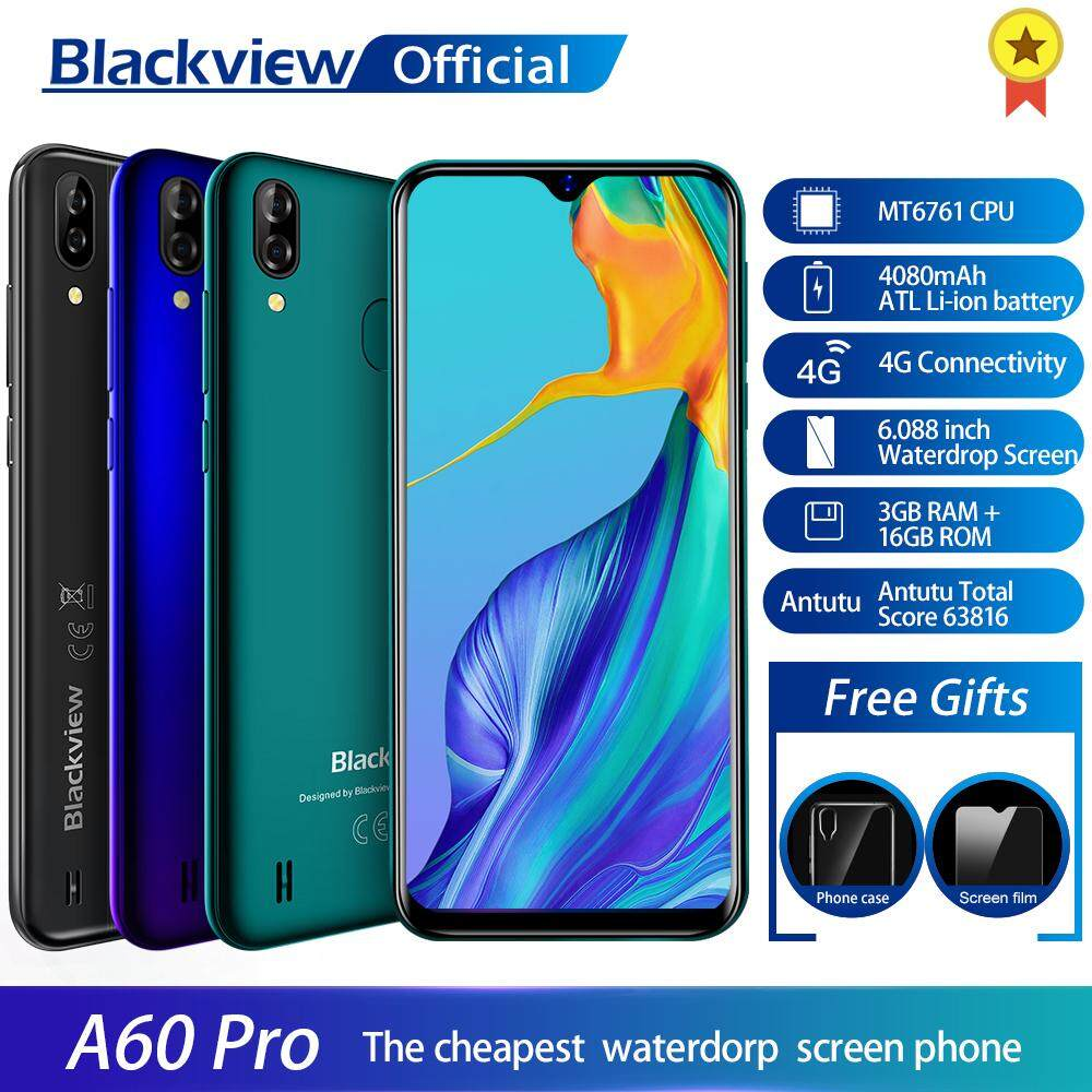 Blackview A60 Pro 4G LTE Smartphone 6 088'' Waterdrop Screen 4080 mAH  Battery 3GB RAM 16GB ROM Android 9 0 With Face Fingerprint Unlock