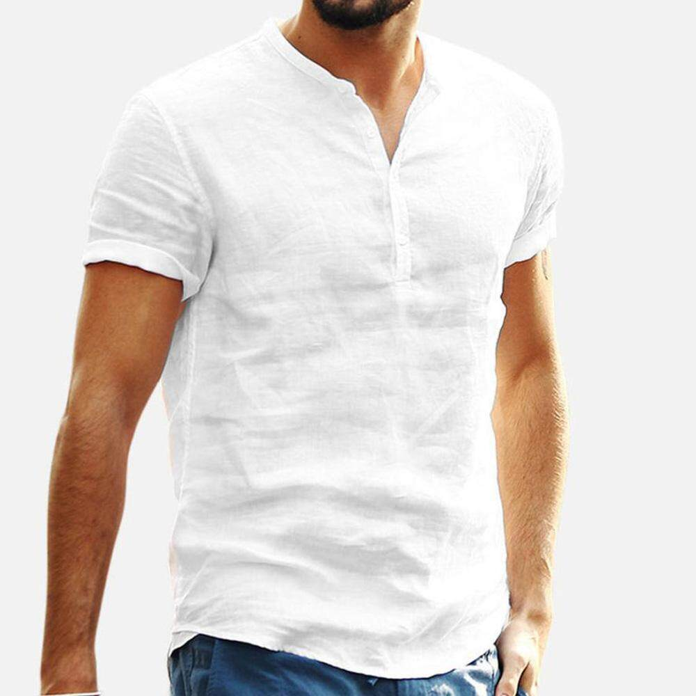 e2d44cdb92e Mens Short Sleeve T Shirts Tops Baggy Linen Cotton Retro V Neck Casual  Blouse