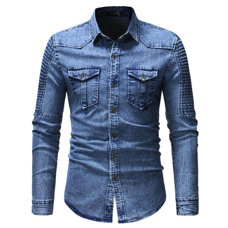 259702cf 2019 Men's Spring and Autumn Washed Pleated Pocket Single-breasted Denim  Shirt / Premium European