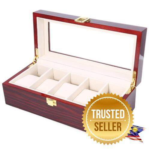 5 GRIDS WOODEN WATCH DISPLAY BOX PIANO LACQUER JEWELRY STORAGE ORGANIZER (DEEP RED) Malaysia