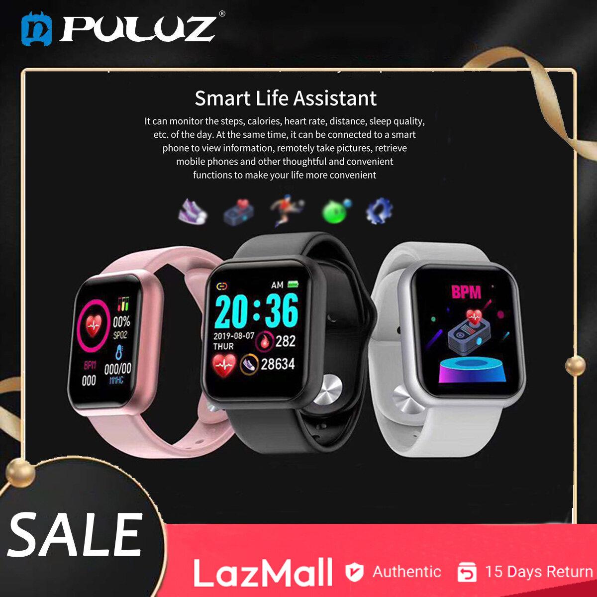 PULUZ đồng hồ thông minh Y68 đồng hồ kỹ thuật số hỗ trợ bluetooth 4.0 cho Android và iOS đồng hồ đeo tay đa chức năng thiết kế dây đeo silicone không thấm nước - INTL