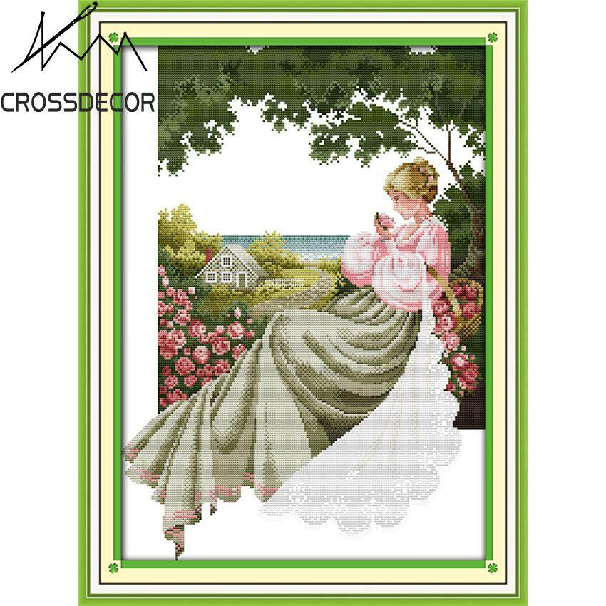 Girl In A rose Garden CrossDecor Stamped Cross Stitch Complete Set DIY Handmade Embroider Needlework 11CT Pre-Printed On the Cloth Modern Style Home Room Decor DMC Complete Kits