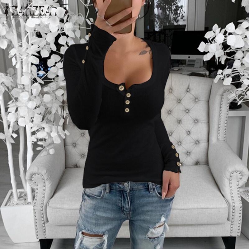 ZANZEA Women Low Cut Lace Up Shirt Tops Slim Stretchy Blouse Jumper Blouse Plus