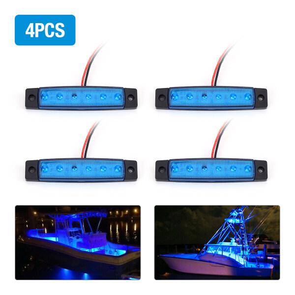 4 Chiếc Đèn LED Tàu Biển, Đèn Chiếu Hậu Đuôi Tàu Cabin Màu Xanh