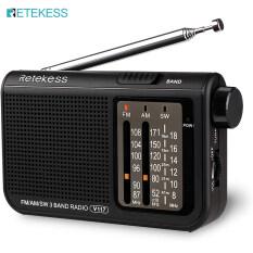 Retekess V117 Đài Phát Thanh Sóng Ngắn Analog Transitor AM FM Radio Di Động Hỗ Trợ Tai Nghe DSP Hoạt Động Bởi 2 AA Dành Cho Người Cao Tuổi (Đen)