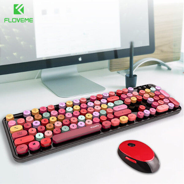 FLOVEME Mixed Color Wireless Keyboard With Mouse Set Mechanical Gaming Keyboard 104key Portable 2.4Ghz Girl Boy Keyboard For PC Gamer Laptop Malaysia