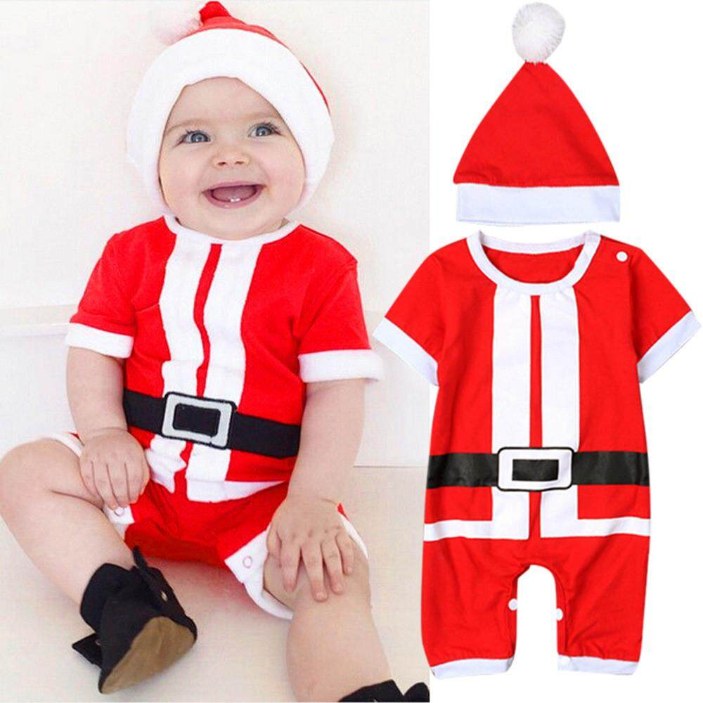 Yhystore Newborn Baby Girl Boy Christmas Costume Santa Claus Hat Romper  Clothes Outfits 0d392780d1