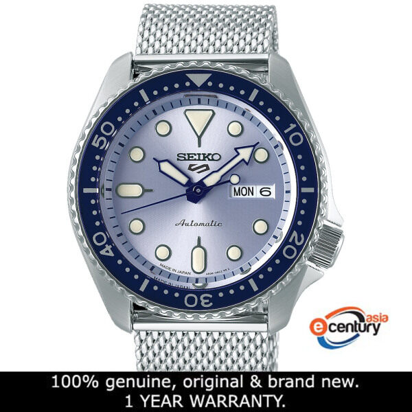 Seiko 5 Sports SRPE77K1 Gents Automatic Suits Style Day-Date 100M Mesh Stainless Steel Bracelet Watch Malaysia