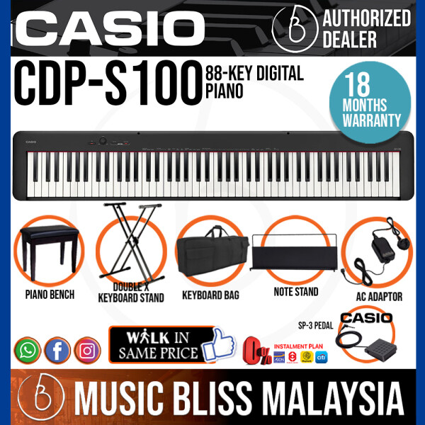 Casio CDP-S100 88-key Digital Piano Musician Package with Piano Bench (CDPS100 / CDP S100) Malaysia