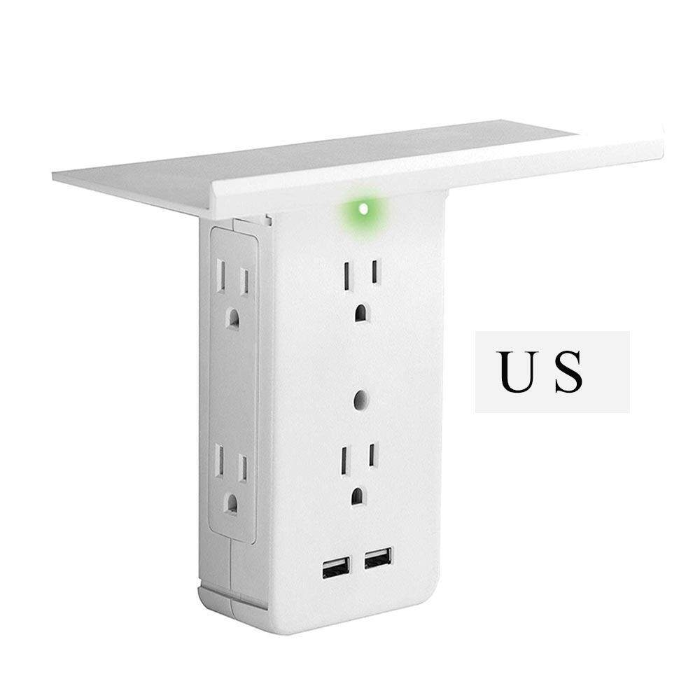 GoodGreat US Standard Switch Socket Frame Multi Function Power Socket With 2 USB Ports Built-in Surge Protection With LED Indicator For Bathroom,Bedroom,Kitchen,Livingroom