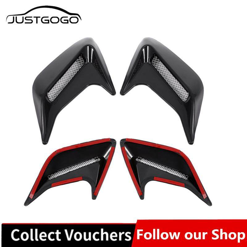 Justgogo 2pcs Car Decorative Air Scoop Outlet Flow Intake Hood Vent Bonnet  Universal DIY Black