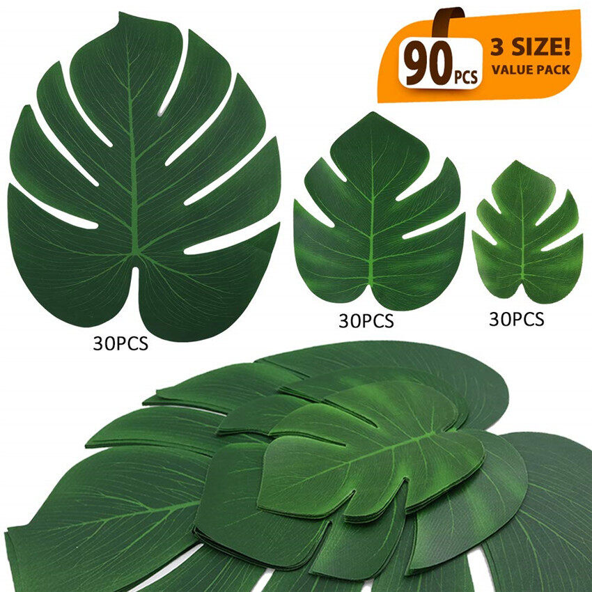TTLIFE 90 Pcs 3 Kinds Palm Leaves Artificial Tropical Palm Tree Leaves Decorations, Safari Leaves,Tropical Plant Leaves For Hawaiian Jungle Party Wedding Dining Table Decorations