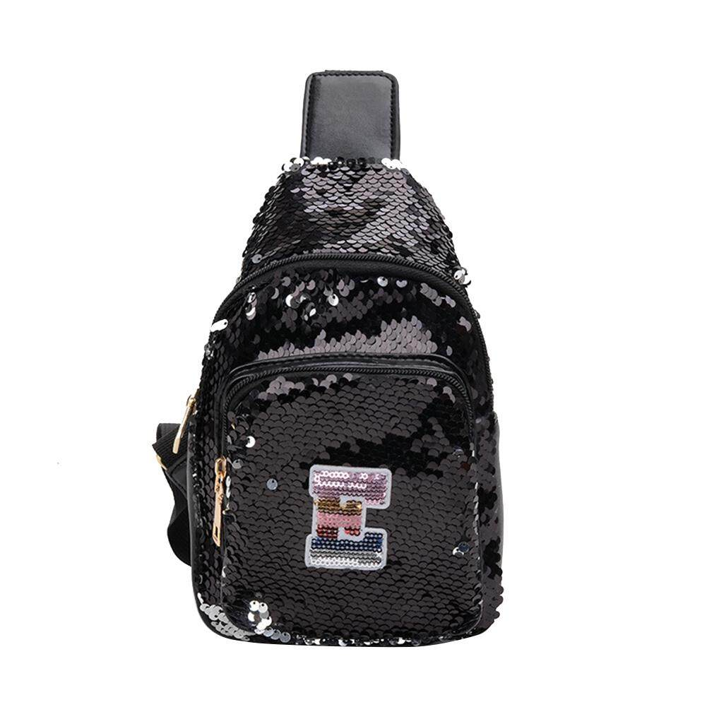 Fashionhead  Fashion Capital Letter Glitter Sequins Children Girl Zipper Crossbody Chest Bag