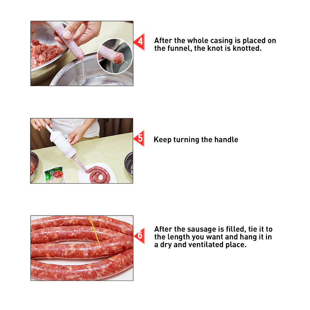 1Set* Make Manual Meat Sausage  Funnel Machine Filler Stuffer Sausage Salami