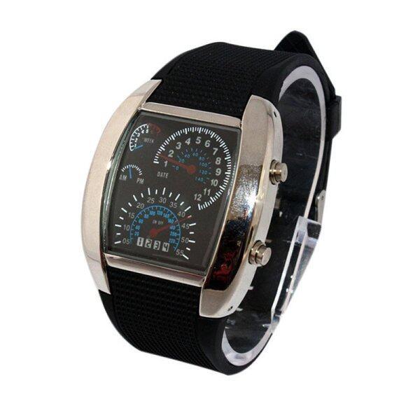 waterproof 2021NEW Sports RPM Turbo Flash LED Car Speed Meter Dial Men Gift Wristwatch BK Malaysia