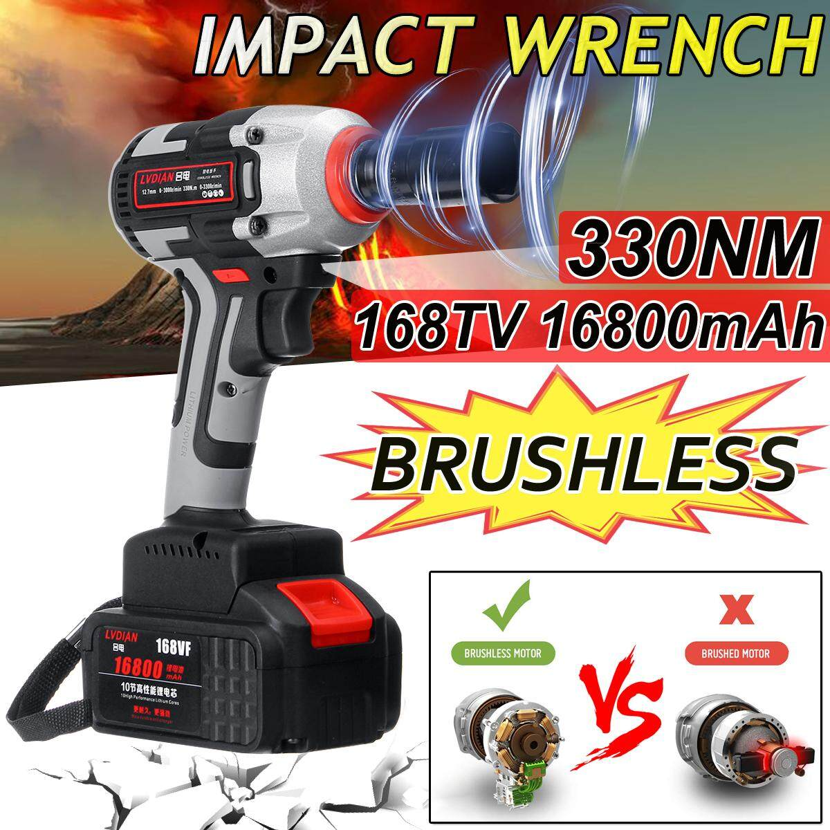 168TV 16800mAh 330NM Impact Wrench Cordless Machine Electric Brushless With Sleeve