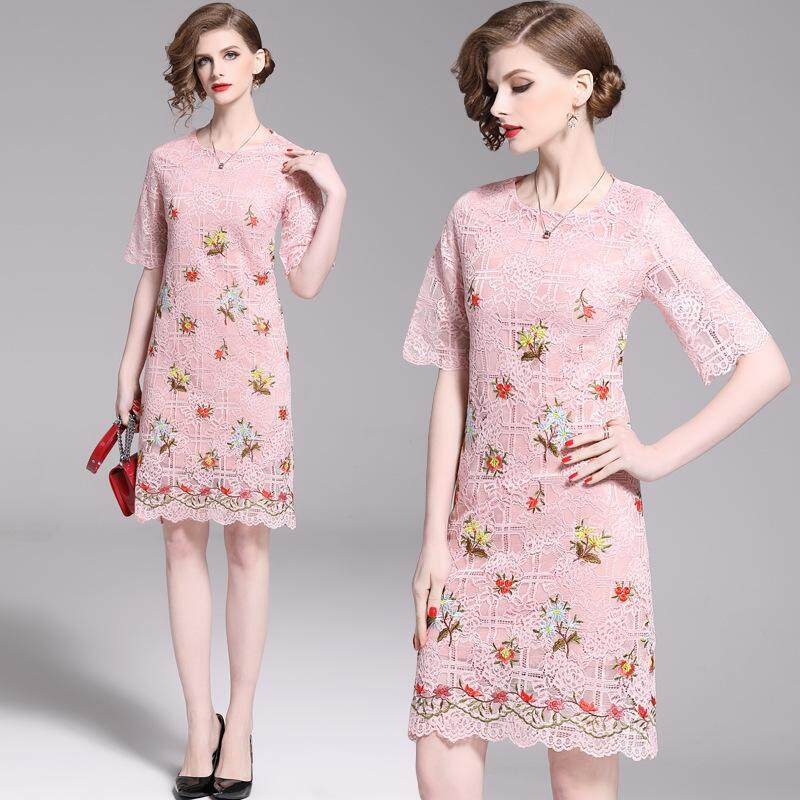 5f5bec82c53a 2019 Summer New Style Women Embroidered Was Thin A-line Skirt Elegant Elbow- sleeve
